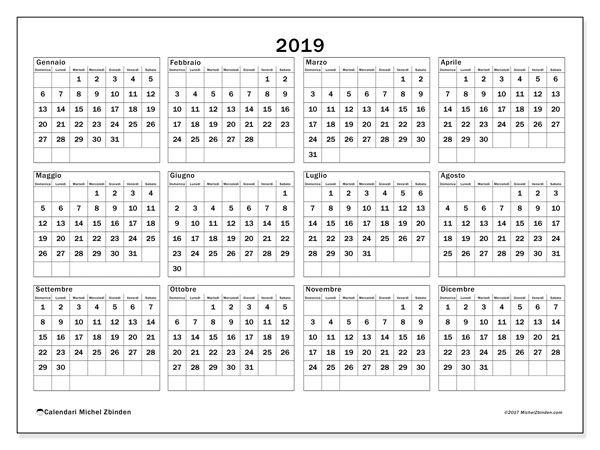 Calendario 2019 34ds Attività Creative Calendario Stampabile
