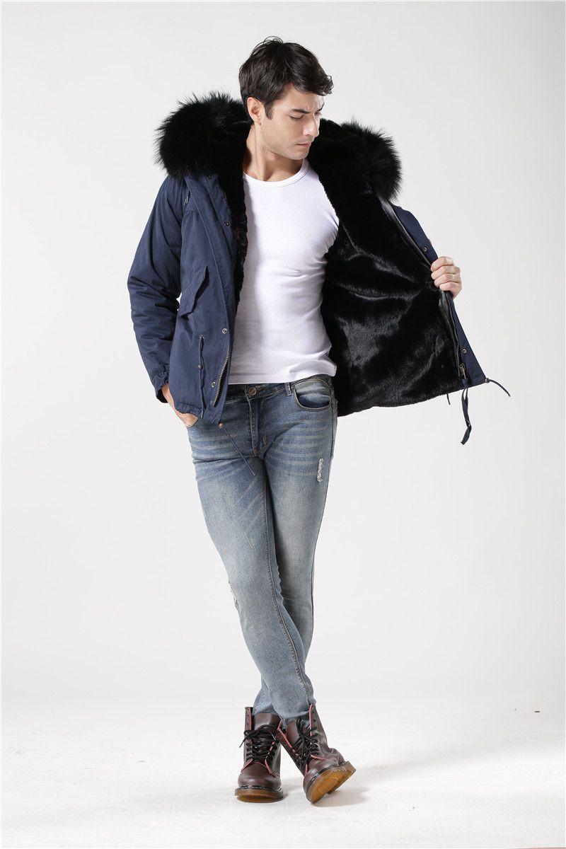 Click To Buy High Quality Dark Blue Coat Black Fur Real Big Raccoon Fur Collar Fur Jacket Men Winter Outerwea Dark Blue Coat Winter Jacket Men Black Coat [ 1200 x 800 Pixel ]