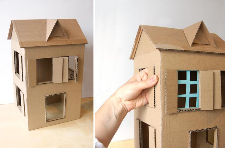 Maison En Carton La Tete Dans Les Idees Maison En Carton Maison De Poupee En Carton Bricolage Papier