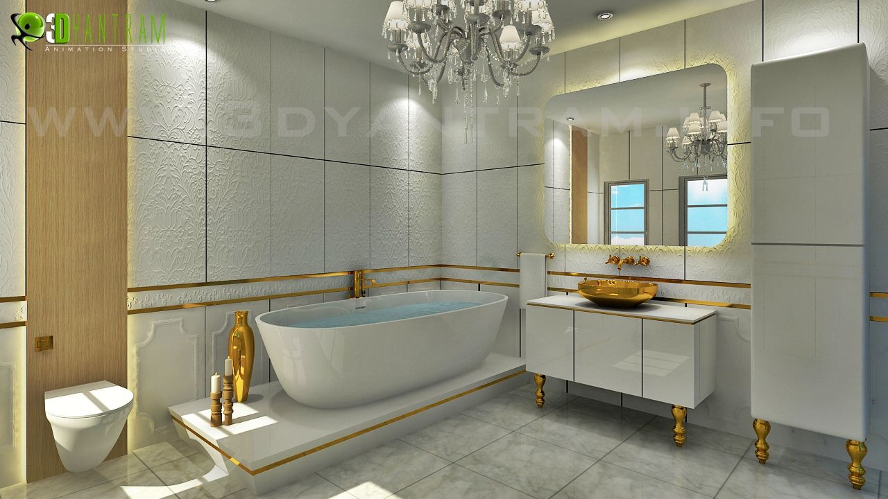Residential 3D Interior Rendering Bathroom Milan  Interior Design Captivating 3D Bathroom Designs Design Inspiration
