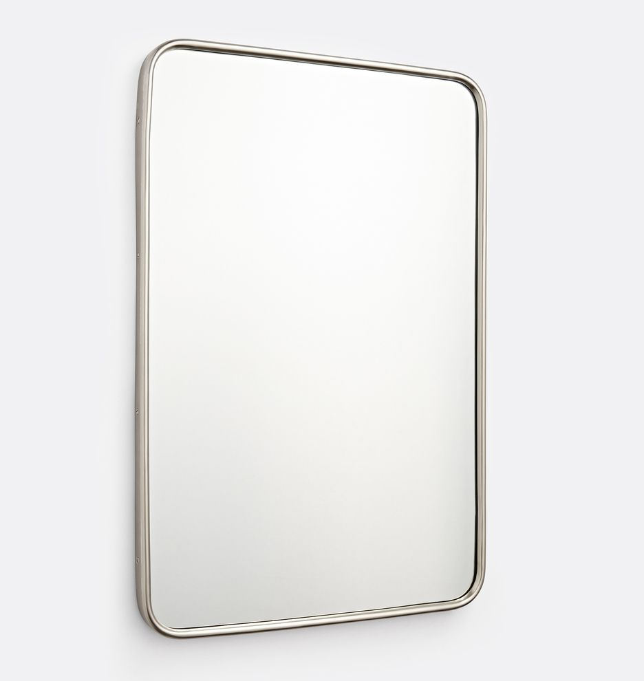 20 X 30 Brushed Nickel Rounded Rectangle Modern Metal Framed Mirror Rejuvenation Metal Frame Mirror Mirror Frames Rectangle Mirror