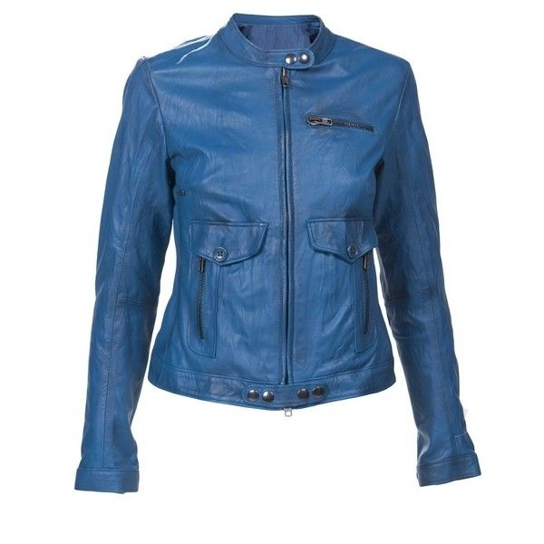 S.W.O.R.D 108828 BLUE GREEN LEATHER W.LTHJACKET (€545) ❤ liked on Polyvore featuring outerwear, jackets, tops, blue, coats & jackets, women, lightweight leather jacket, blue jackets, slim fit motorcycle jacket and motorcycle jacket