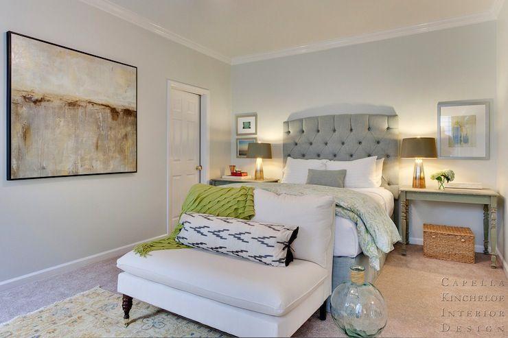 Capella Kincheloe Interior Design - bedrooms - Ballard Designs First Light I Giclee Print, blue, gray, walls, blue, gray, tufted, tall, head...