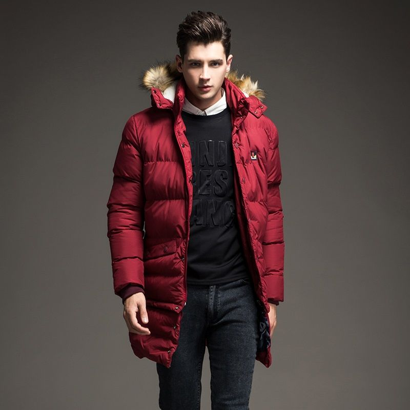 2016 new Winter Men Down Parkas down thick warm long Lower Edge ...