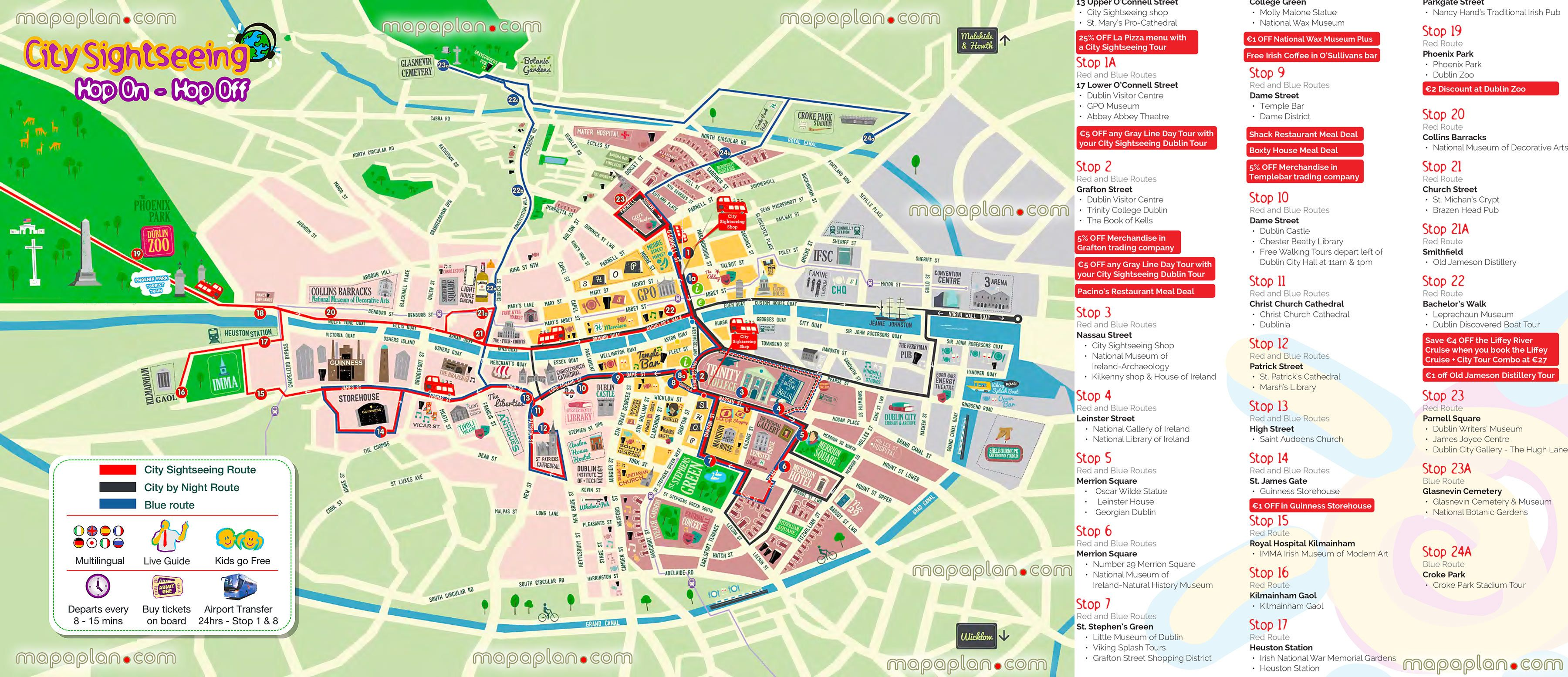 Hop Hop Off Bus Dublin City Sightseeing Tour Double Decker Open Top Red  Couch Visitors Plan