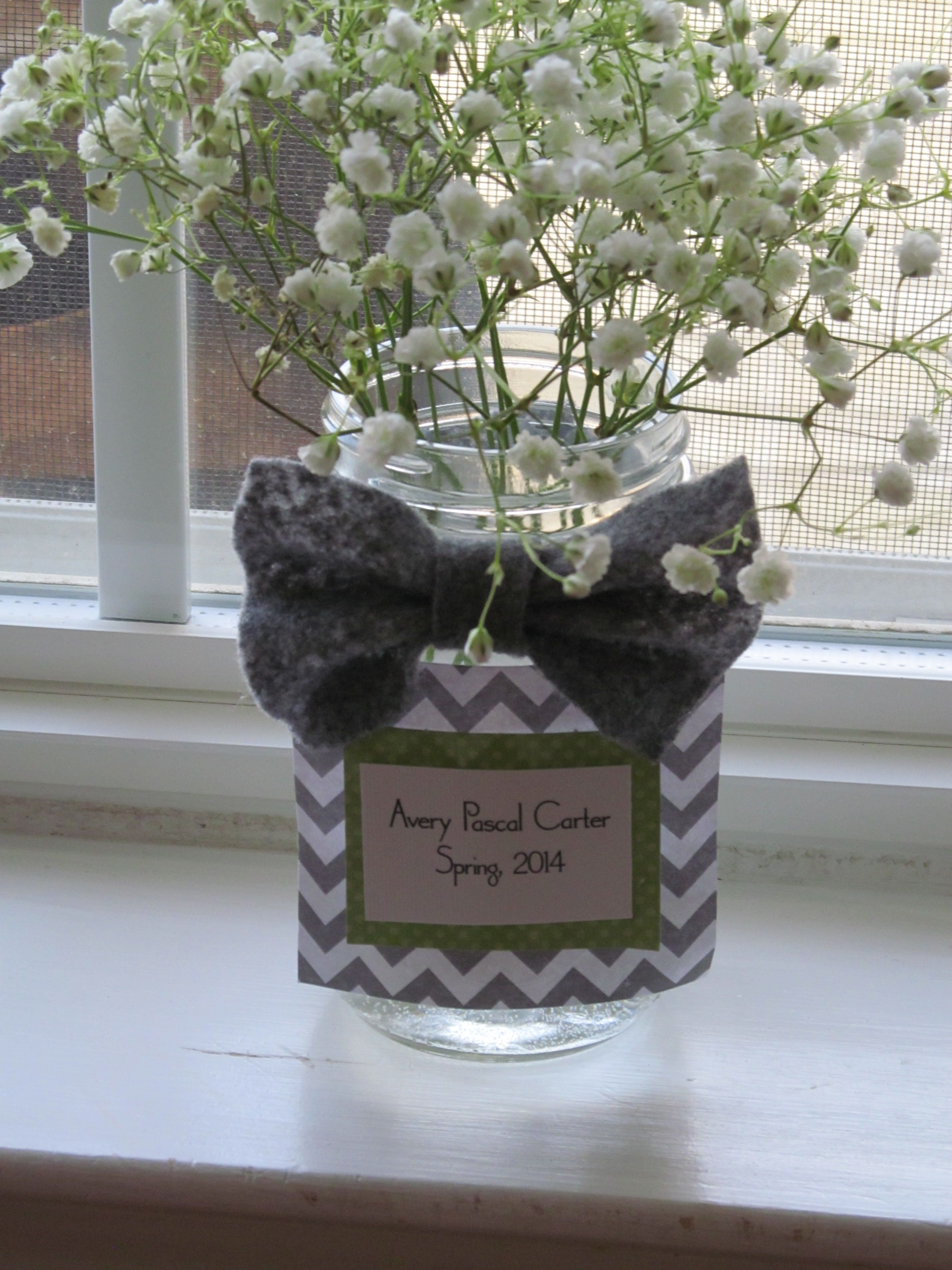 Bowtie and chevron themed baby shower decor.