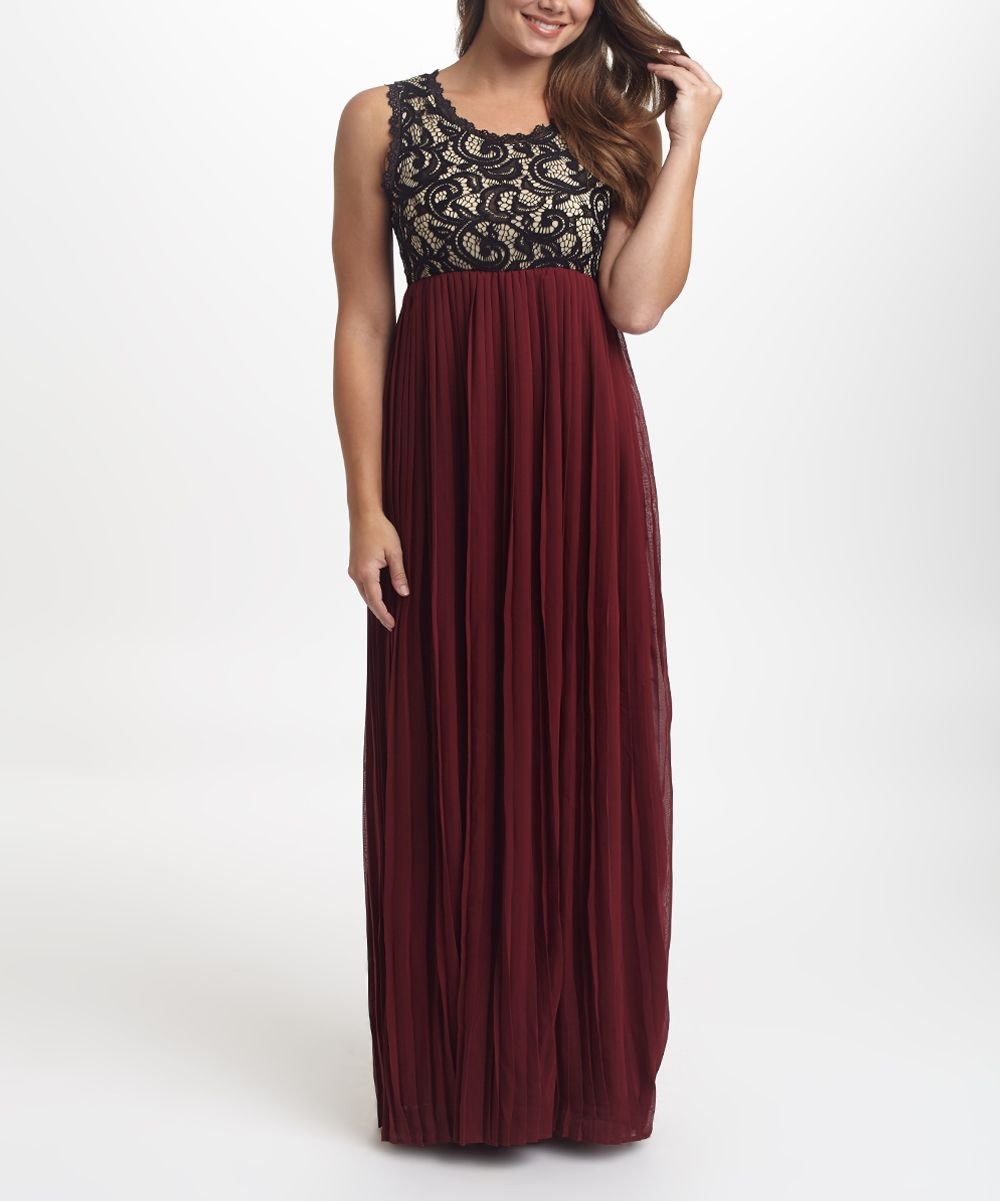 Burgundy u black lace pleated maxi dress burgundy maxis and lace