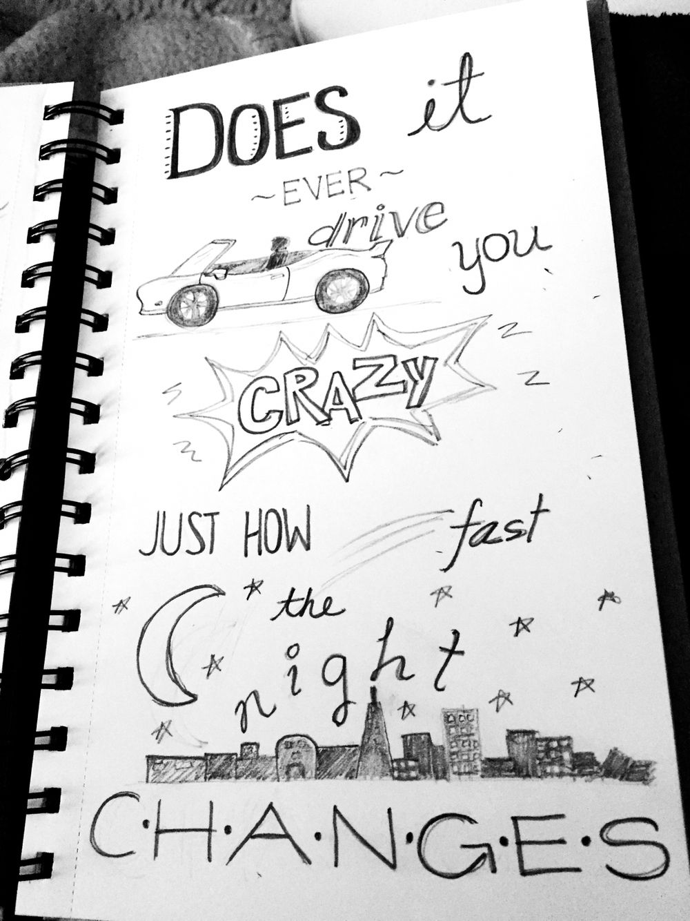 Night Changes 1D artsy quote lyric drawings Lyric