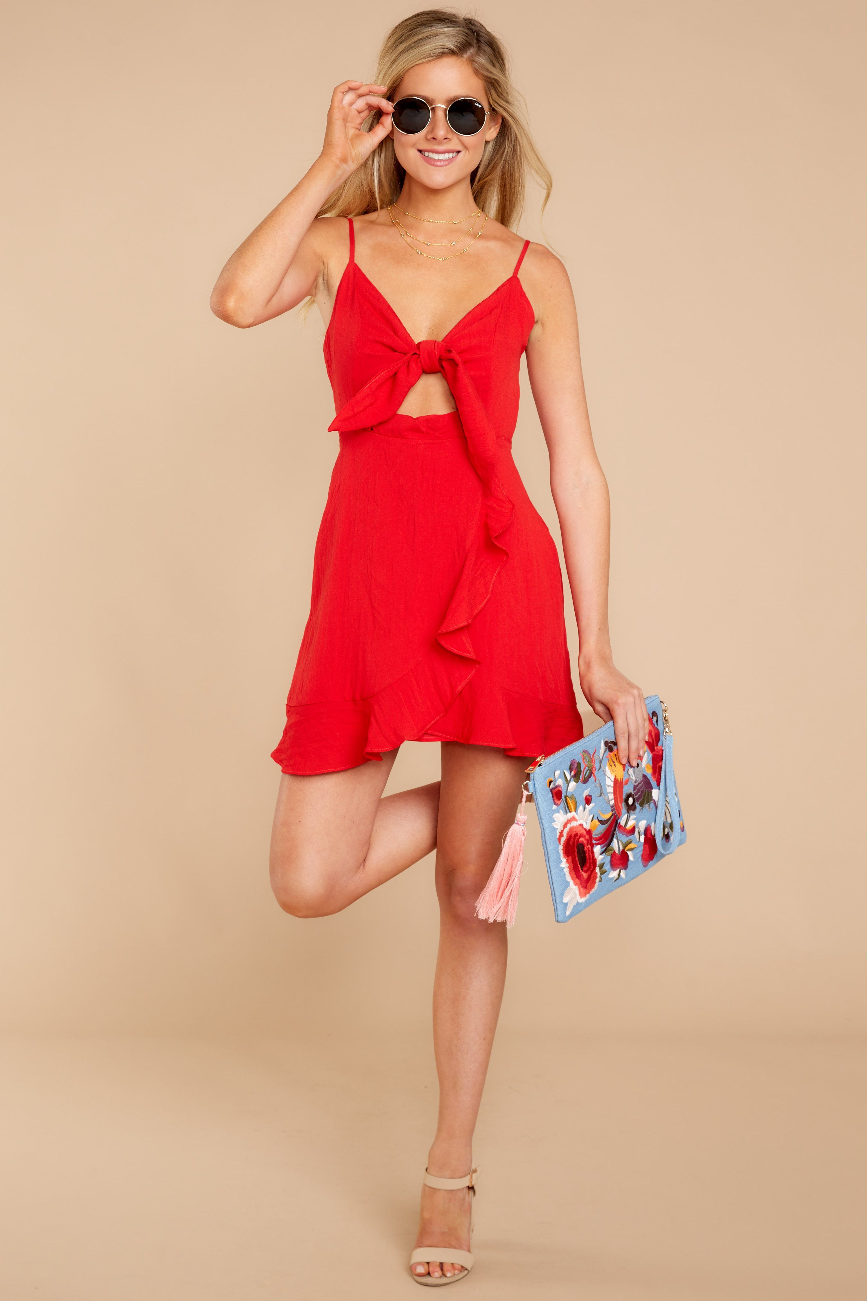 e01fb641beb Trendy Red Dress - Cute Red Dress - Dress -  42.00 – Red Dress Boutique