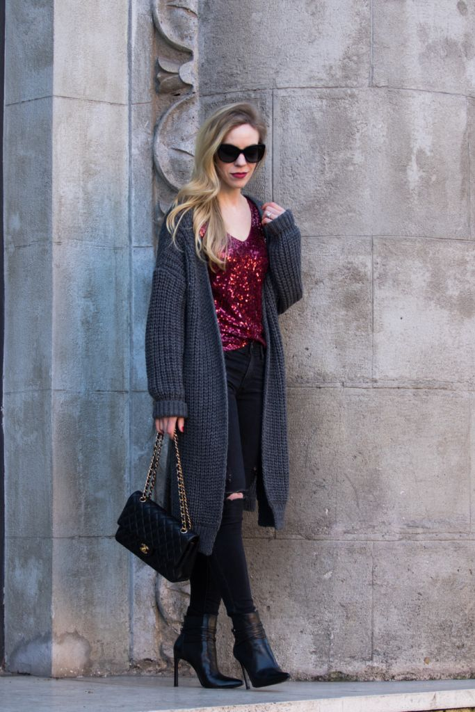 Laid-back look for New Year's Eve: chunky knit cardigan with sequin top and distressed denim | Meagan's Moda