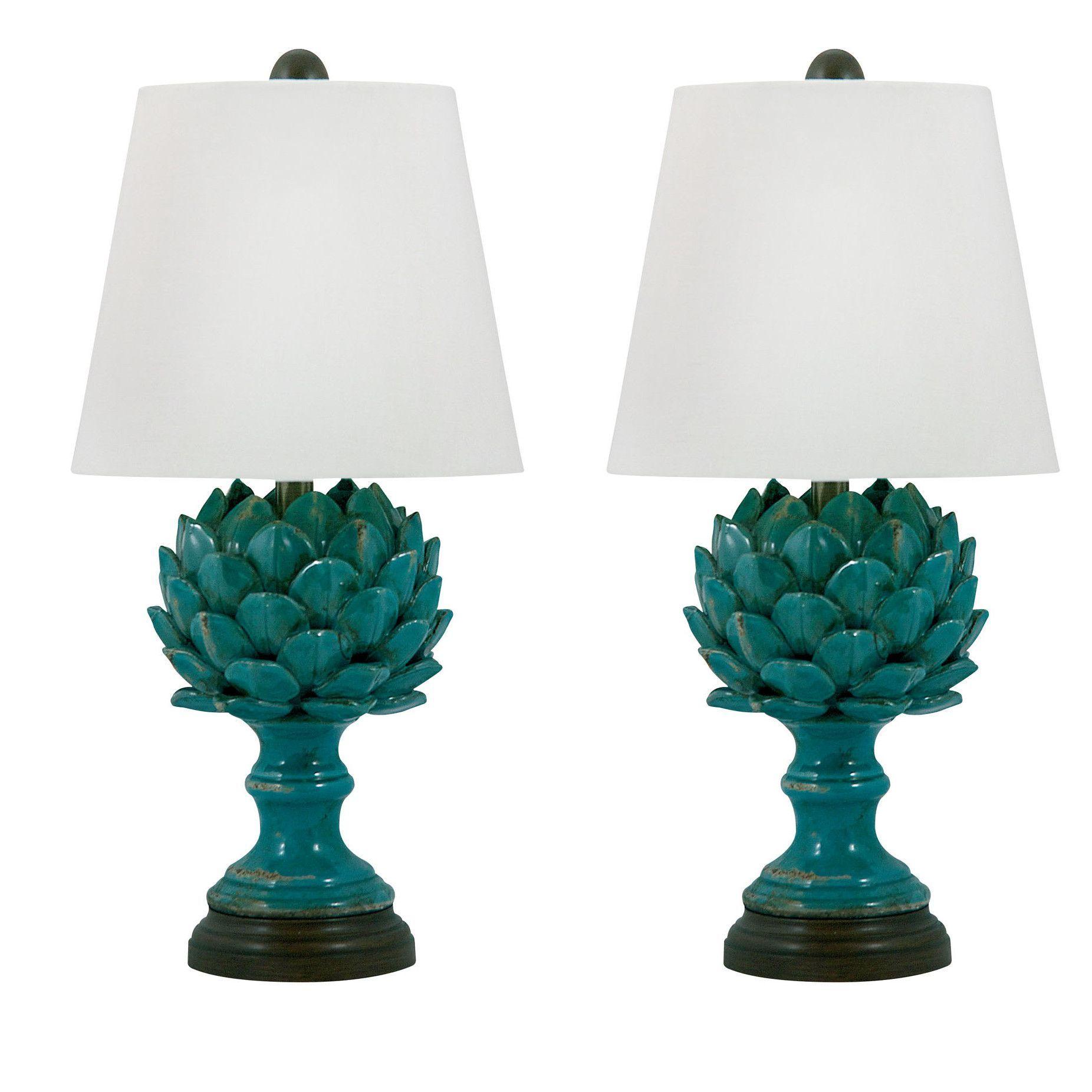 Delightful Lamp Works, Table Lamps, Lamp Works 223 Led Terra Cotta Artichoke Led Table  Lamp In Blue
