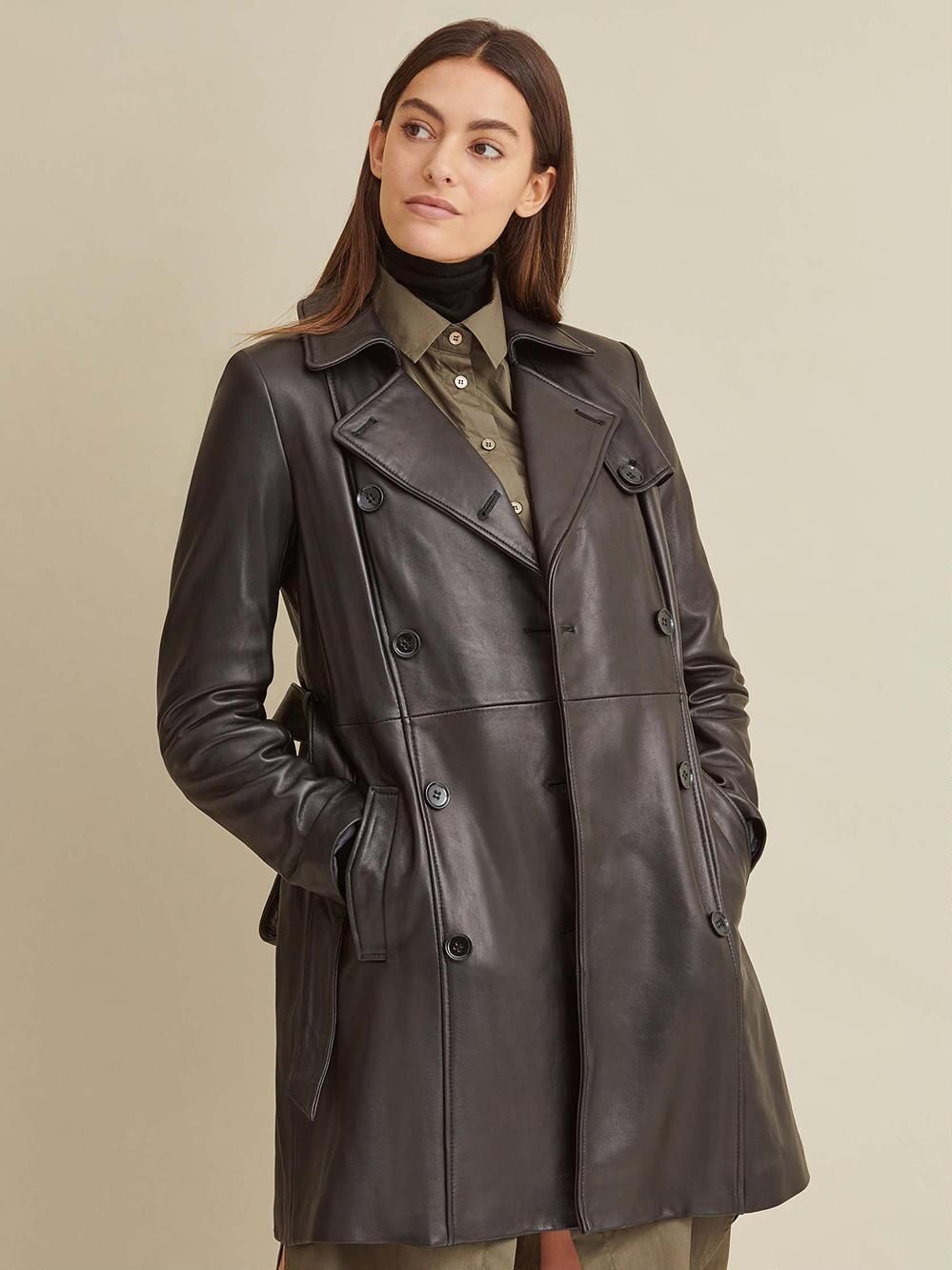 Victoria Belted Leather Jacket Wilsons Leather Leather Trench Coat Leather Jacket Girl Trench Coat [ 1333 x 999 Pixel ]