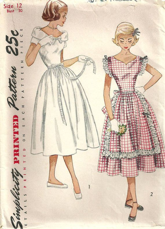 Simplicity 3428 Vintage 50s Sewing Pattern Dress Size 12