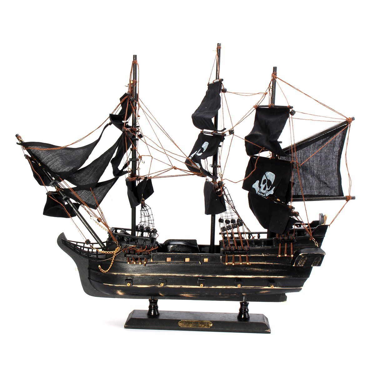 Black Model Pirate Ship Vintage Wooden Sailboat Home Decorations Boat Gift Toy