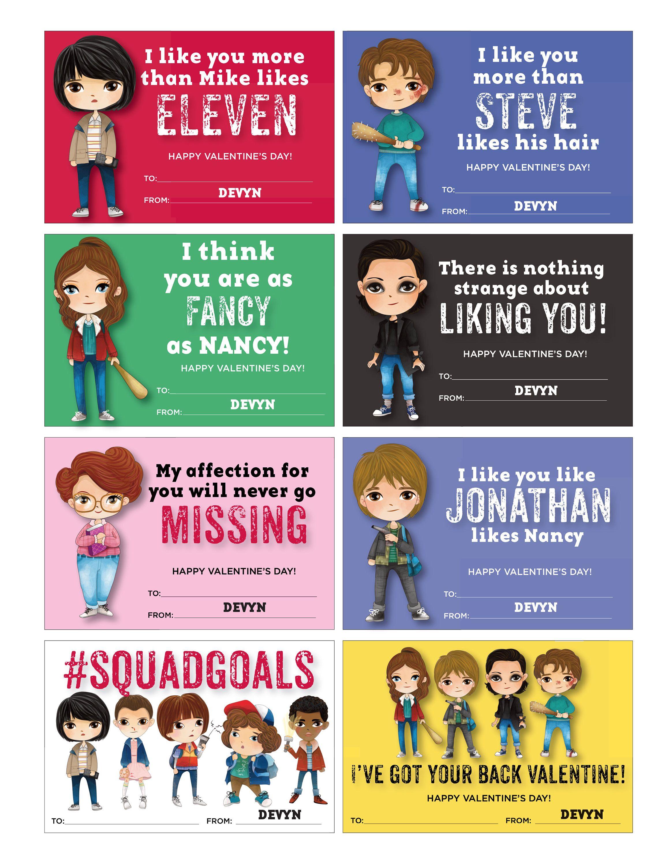 Stranger Kids Valentines Stranger Kids Valentine Cards Season 2