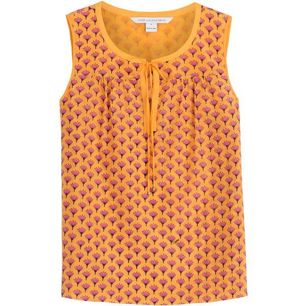 Diane von Furstenberg Cotton-Silk Printed Sleeveless Top (€110) ❤ liked on Polyvore featuring tops, orange, shirts, tanks, florals, slim fit shirts, flat top, sleeveless tops, no sleeve shirt and ruched shirt