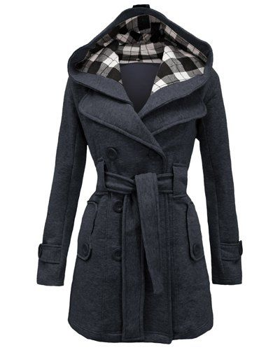 a60b0531249 Stylish Women's Hooded Double-Breasted Long Sleeve Worsted Coat ...