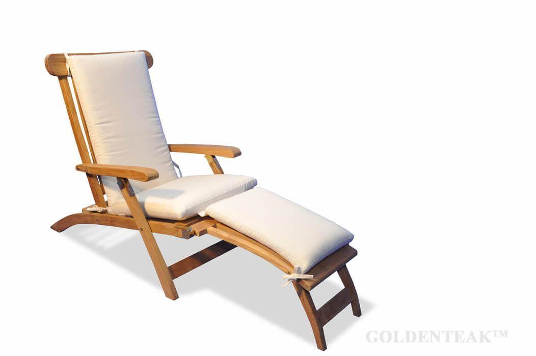 Goldenteak Teak Steamer Chair With Cushion Teak Outdoor Teak Chaise Lounge Patio Chaise Lounge