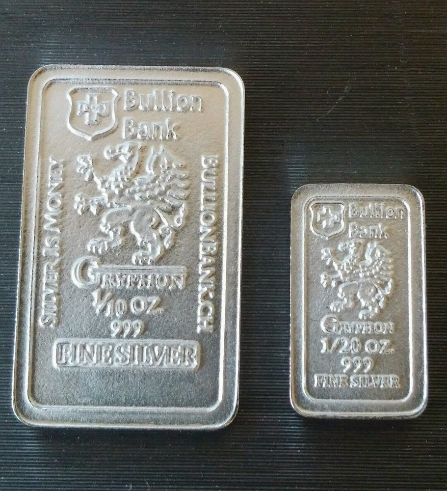 1 10 1 20 Oz 999 Fine Pure Solid Silver Bar By Bullion Bank Silver Bar Bu Silver Bars Gold Bullion Coins Silver Investing