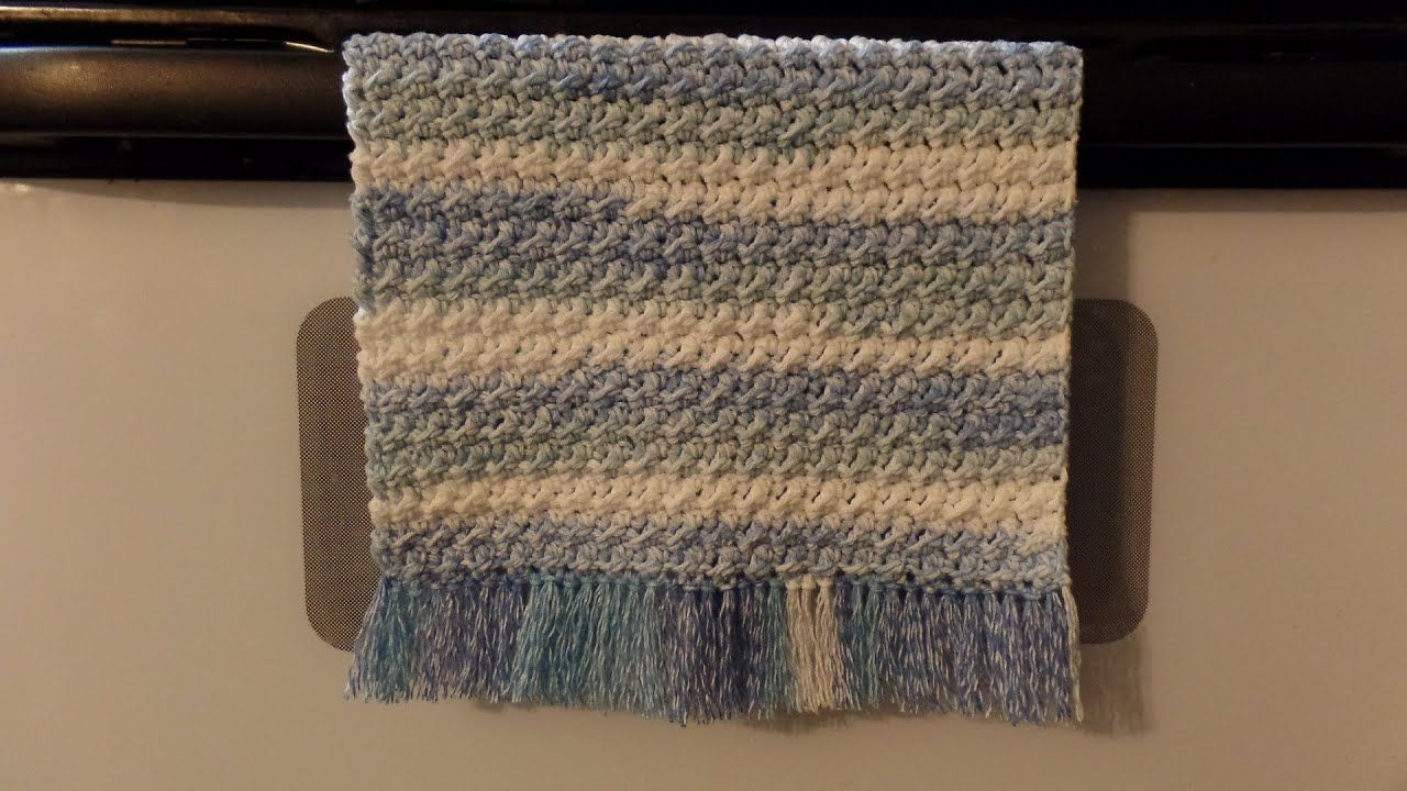 CROCHET #How To #Crochet Cotton Moss Stitch Dish Towel Hand