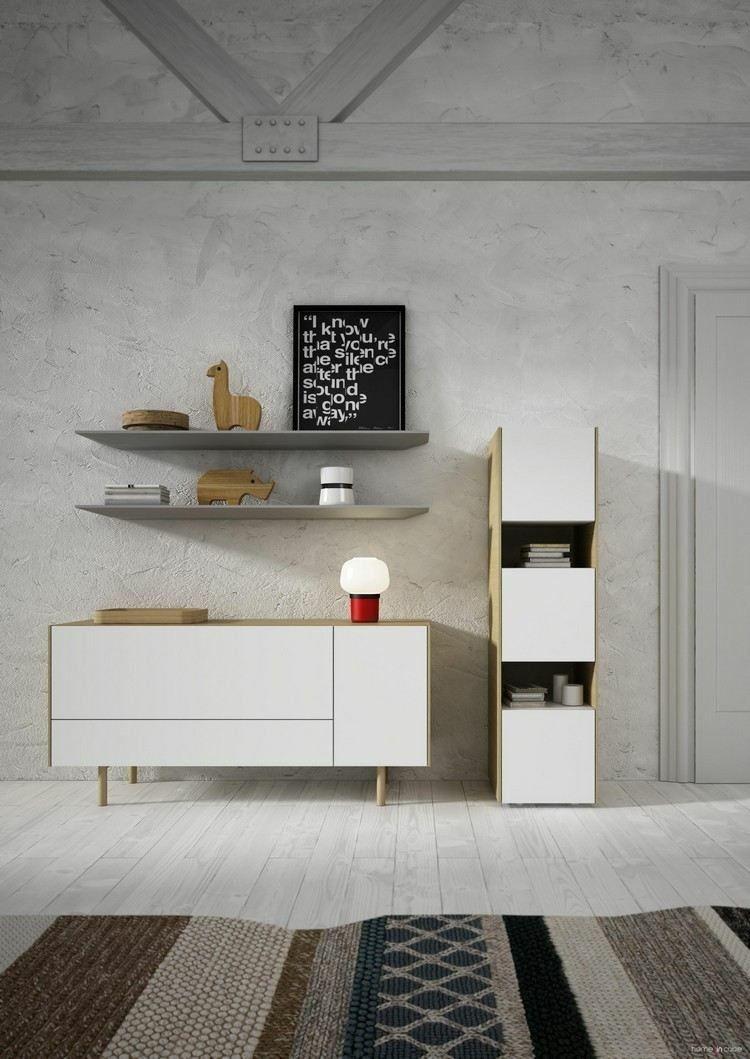 muebles de salón blancos estilo retro   Muebles madera   Pinterest ...