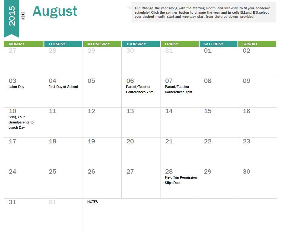 School Calendar  A Calendar Easy To Use For Every Teacher