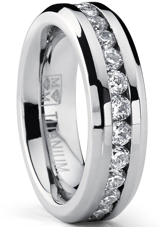 6MM Ladies Eternity Titanium Ring Cubic Zirconia Wedding