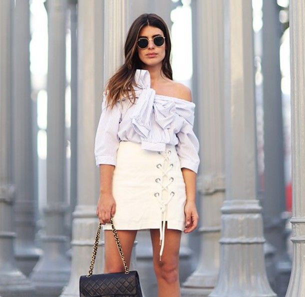 7147fcd7988 Skirt: zebratrash blogger lace up mini white tie-front top off the shoulder  long sleeves chanel date
