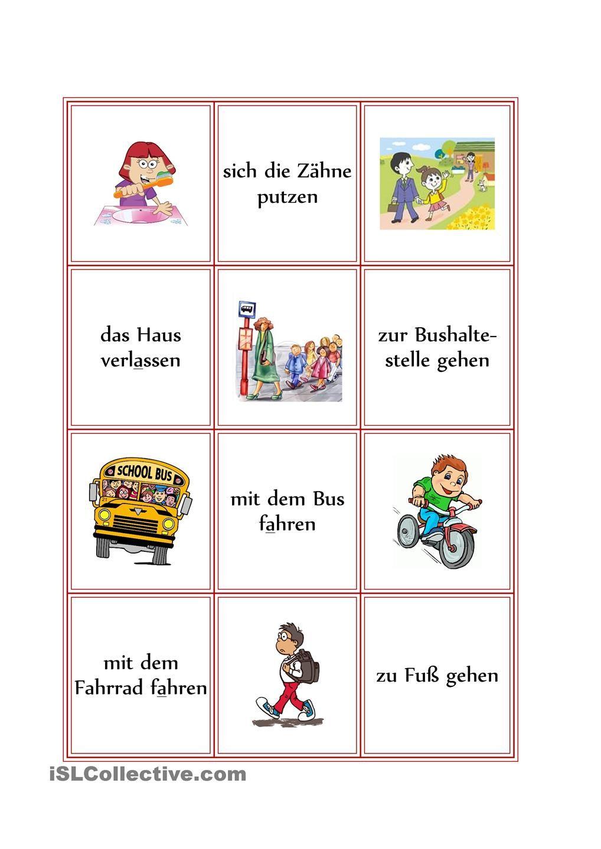 Memory zum Tagesablauf | Arbeitsblätter grundschule, Deutsche schule ...