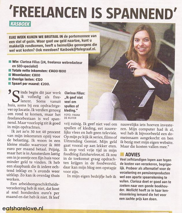 Me in the Dutch newspaper #Telgraaf - Interview in de Telegraaf: 'Freelancen is spannend' - Eat Share Love