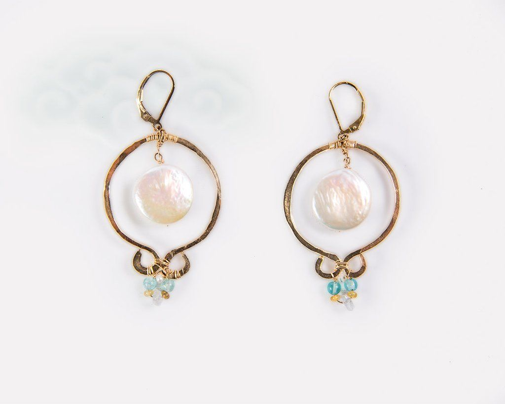 Gold pearl moon earrings Chinese goddess style gold filled, Yun Boutique