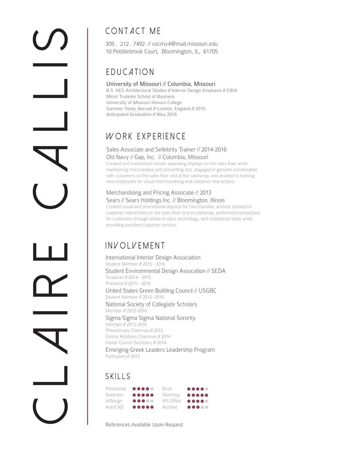 Claire Callis Interior Design Resume Interior Design Resume Resume Design Resume Layout
