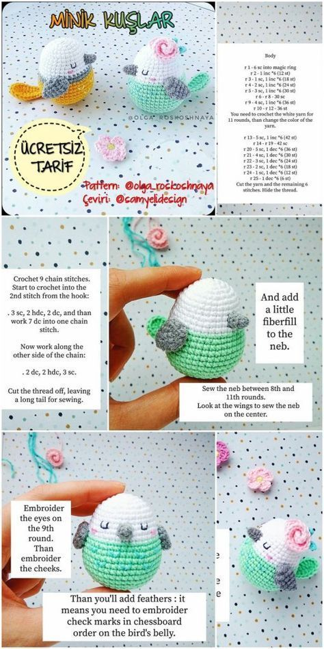 Amigurumi Little Birds Gratis Häkelanleitung - Crochet.msa.plus - #Amigurumi #Birds #Crochetmsaplus #Gratis #Häkelanleitung #eastercrochetpatterns