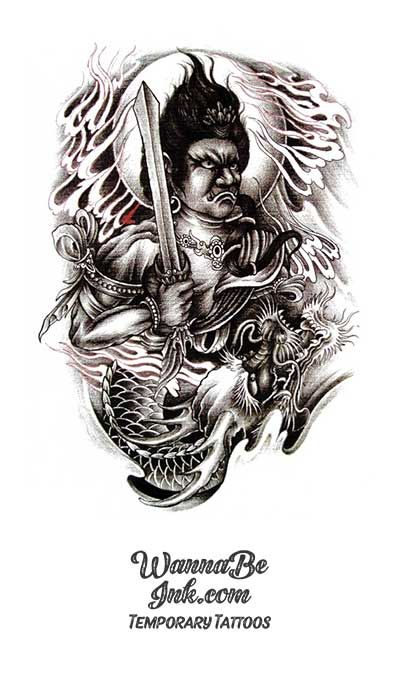 Photo of Moon Behind Mongol Warrior Holding Sword with Dragon Best Temporary Tattoos