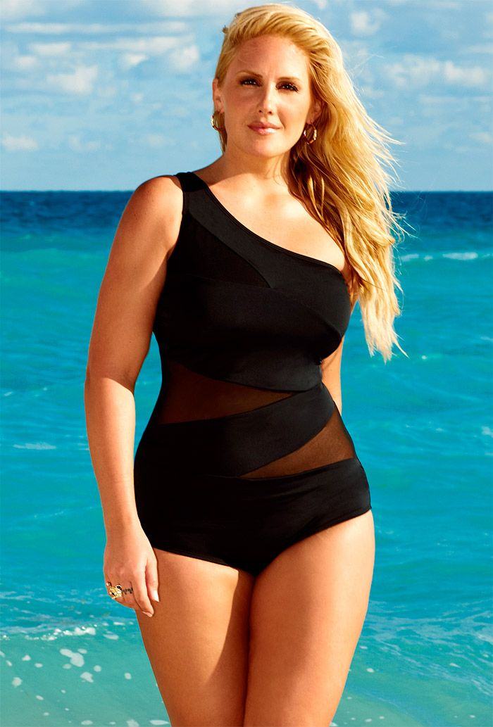 f83a03ba25 Swim Sexy Black Mesh One Shoulder Swimsuit - swimsuitsforall | My ...
