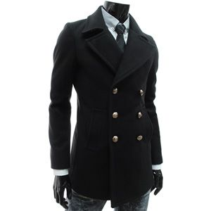 FC02 BLACK) Slim Fit Double Breasted 6 Button Coat | Coat