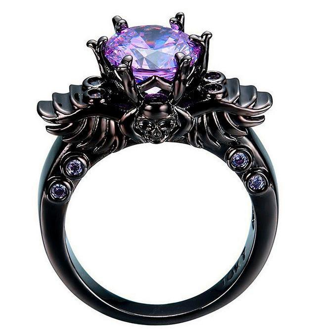 18k Black Gold Plated Skull Ring In 2020 Black Gold Jewelry
