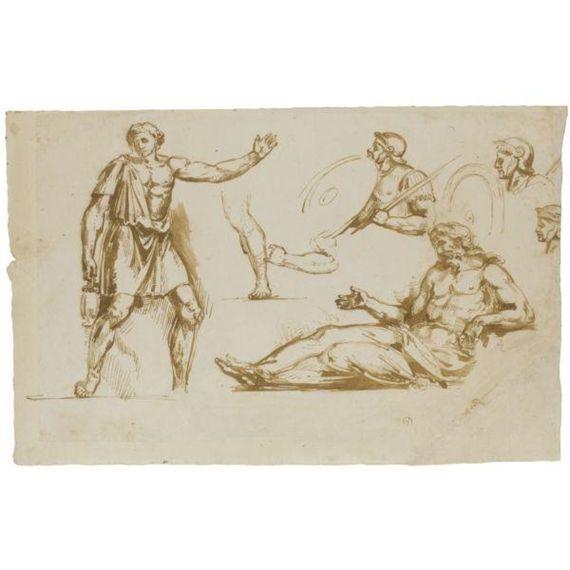Eugène Delacroix, LOT 198   FERDINAND-VICTOR-EUGÈNE DELACROIX CHARENTON-SAINT-MAURICE 1798 - 1863 PARIS  SHEET OF FIGURE STUDIES, WITH ROMAN SOLDIERS AND TWO DRAPED FIGURES   5,000—7,000 GBP