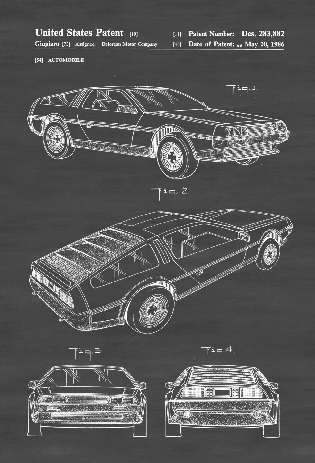 Delorean Automobile Patent – Patent Print, Wall Decor, Automobile ...