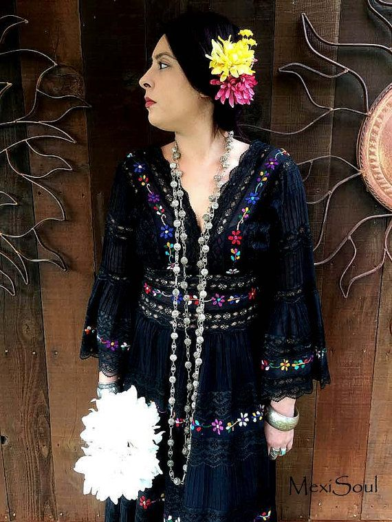 RESERVED,Vintage 1970\'s Black Mexican Wedding Dress, Bohemian ...