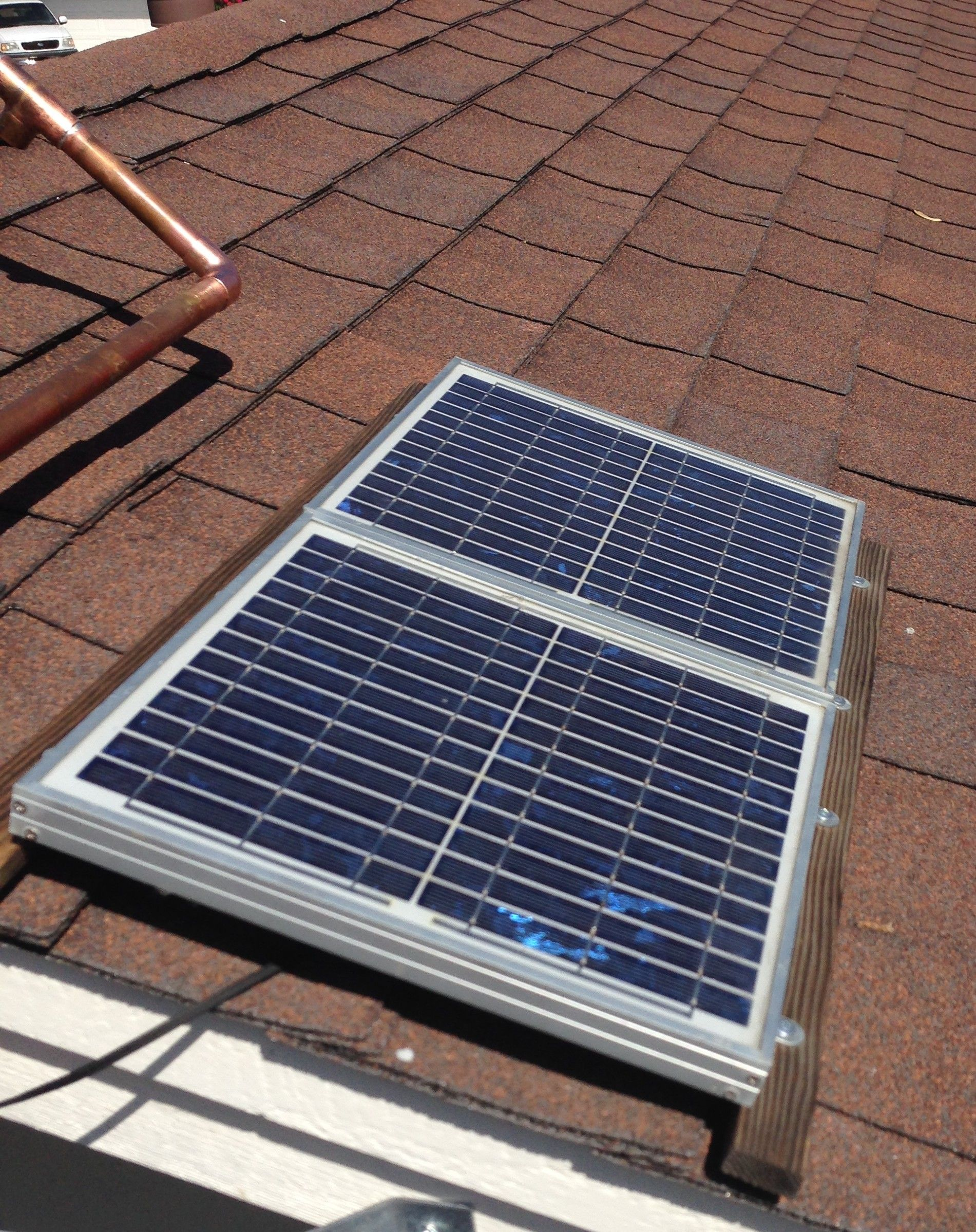 Before Solar Gable Fan Panels Two X 10w Original Mount Output Is 17 Spend Significantly Less On Yo With Images Solar Panels For Sale Solar Panels Buy Solar Panels