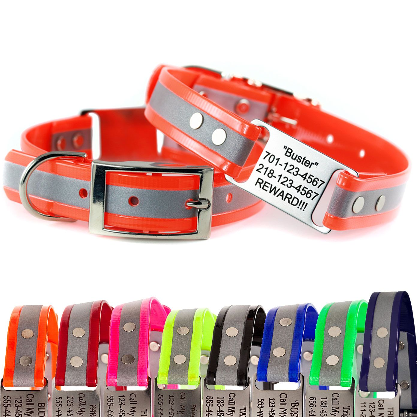 This reflective dog collar will let you and your pooch enjoy night-time walks safely. Order these customizable, reflective collars for dogs from dogIDs.