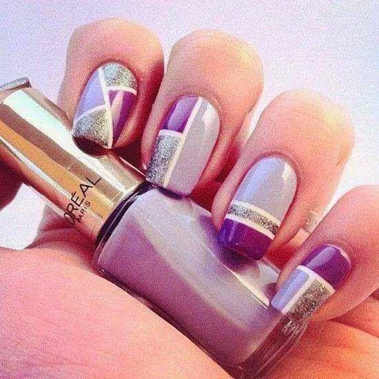 uñas decoradas en lila , blanco y plateado Maravilla de uñas - uas modernas