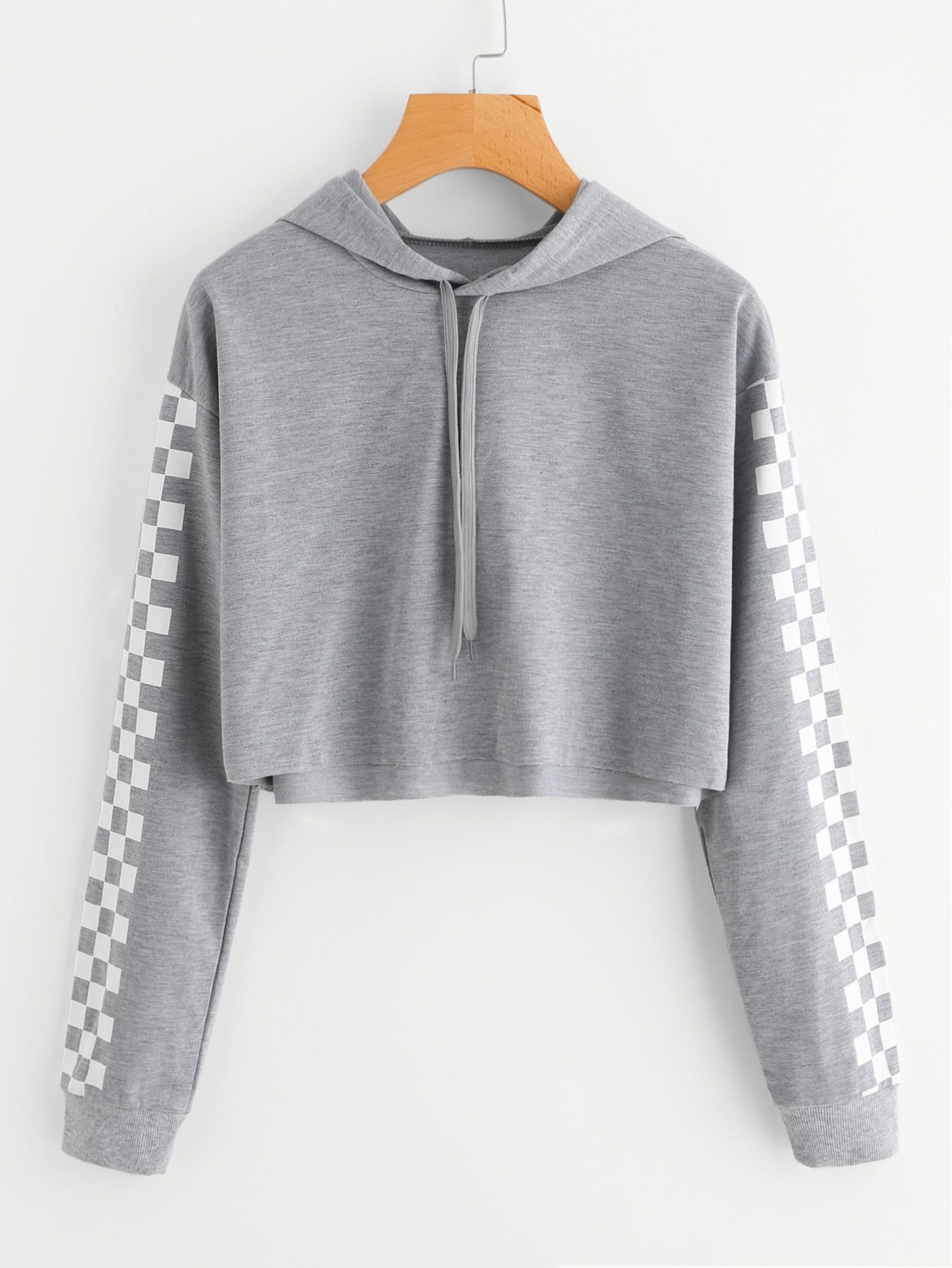 ed823fb901a3 Shop Contrast Checked Sleeve Crop Hoodie online. SheIn offers Contrast  Checked Sleeve Crop Hoodie   more to fit your fashionable needs.