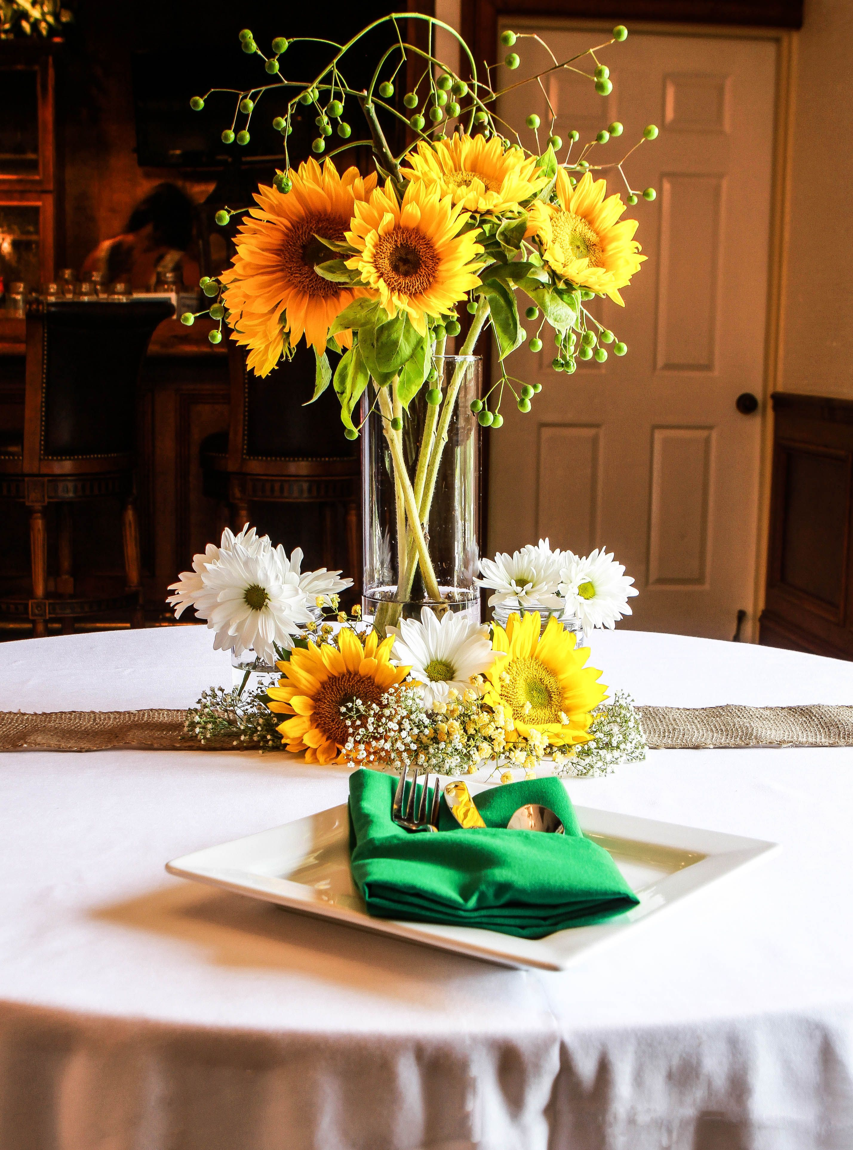 Gorgeous Tall Sunflower Arrangement With Modern Flatware Custom Centerpieces And Place