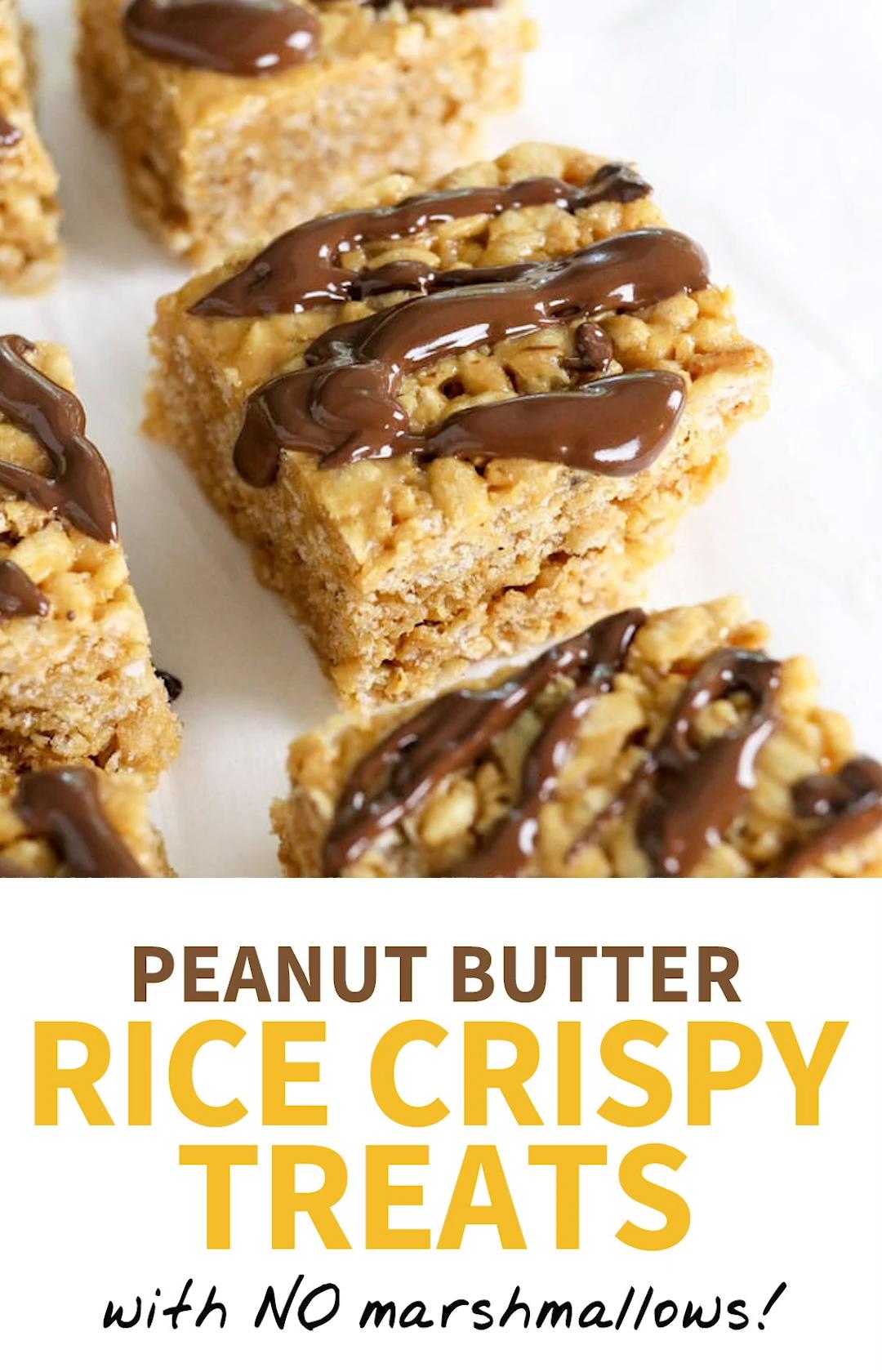 Peanut Butter Rice Crispy Treats (with NO marshmallows!)