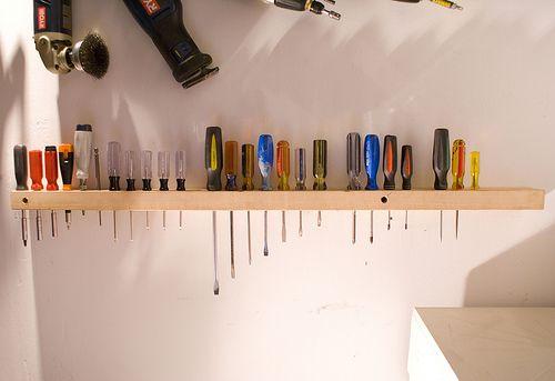 2x4 Screwdriver Holder Garage Organization Tips Diy Garage Garage Organization
