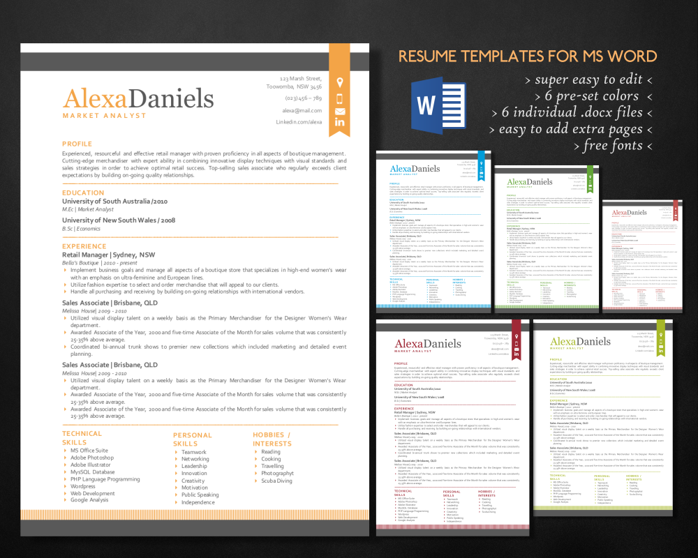 Update In Modern Word Resume Pack  Modern Resume And ChangE