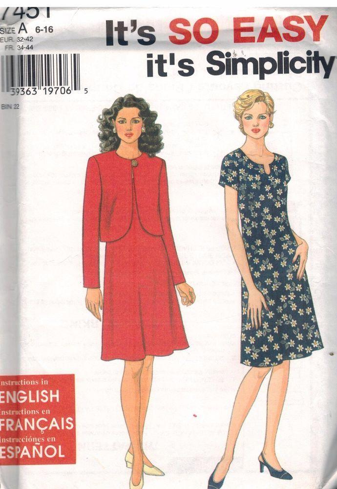 7451 UNCUT Vintage Simplicity Sewing Pattern Misses Dress Jacket ...