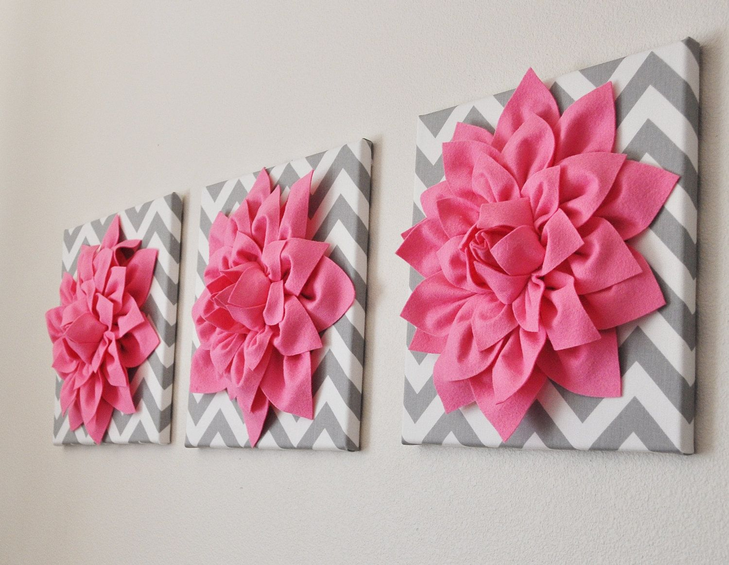 pink and grey chevron canvas | Pink Wall Art SET OF THREE Pink ...